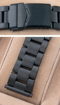 Hadley Roma 18-22mm Black PVD Metal Depolyant Diver Watch Band HR
