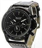 ・腕時計 メンズ クロノグラフ マットブラック自動巻きクロノグラフ腕時計 メンズ カレンダー付