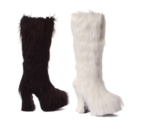 Ellie Shoes - 505-Fifi, 5 Chunky Heel Furry Platform Boot with faux fur- Perfect for Theatre or Halloween Costumes