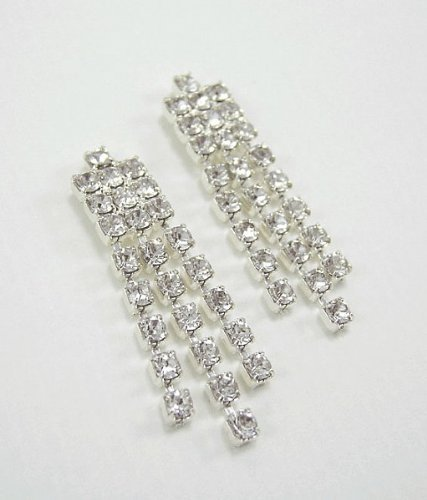 LJ Designs Fancy Drop Diamante Earrings (E11) - Swarovski Crystal - Gold or Silver Finish