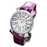 ・レディース トップリューズ式腕時計 レディース 腕時計 革ベルト シルバー&パープル