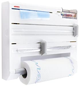 Leifheit Comfortline Parat Plus Kitchen Foil & Cling Film Wall-Mounted Roll Holder, Plastic White - L10 cm x W39 cm x H32 cm