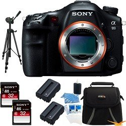 Sony SLTA99V Alpha SLT-A99V A99 SLT-A99 Full-Frame 24.3 MP SLR Digital Camera with 3-Inch LED - Body Only (Black) BUNDLE with 32GB High Speed Card (Qty 2),Spare Batteries (Qty 2), Full Sized Tripod, Deluxe Padded Case + More