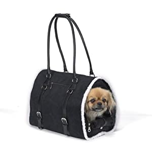 Zack & Zoey Polyester Deluxe Sherpa Small Pet Carrier, Teacup, Black