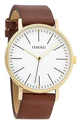 Ferenzi Women's | Fashion Minimalist Gold Watch with Dark Brown PU Leather | FZ17204