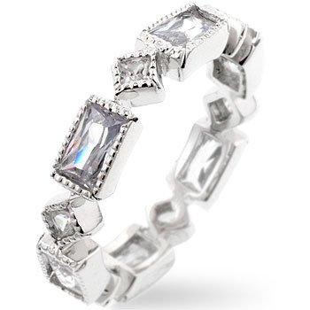 White Gold Rhodium Bonded Eternity Band with Alternating Princess Cut Clear CZ and Radiant Cut Clear CZ in a Bezel Setting in Silvertone
