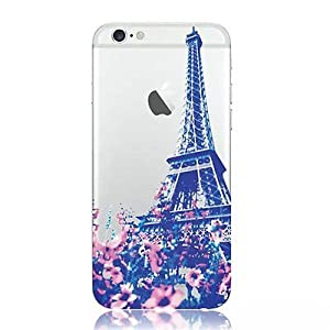 iPhone 7 , Colorful Rubber Flexible Silicone Case Bumper for Apple Clear Cover - Photogenic Eiffel Tower