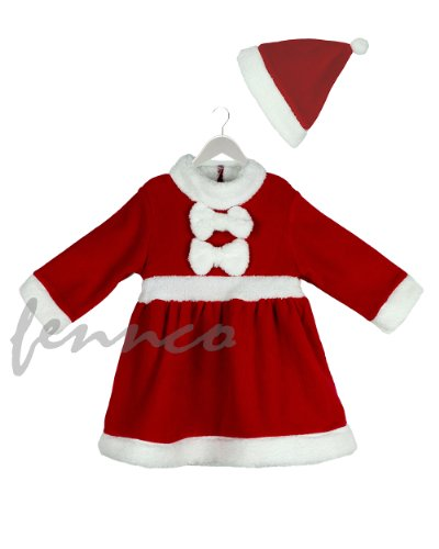 Age 1-3 Baby Girl Holiday Santa Costume Red and White Dress + Hat, 2-pc Set