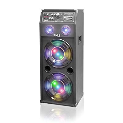 Pyle PSUFM1045A Disco Jam 1000 Watt 2-Way Bluetooth Speaker System with Flashing DJ Lights, SD Reader, FM Radio, 3.5mm AUX Input from DJ Tech Pro USA, LLC