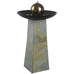 Wildon Home® Roberta Slate Obelisk with Gazing Ball Indoor/Outdoor Floor Fountain with Natural Green Finish includes Pump, and River Stones