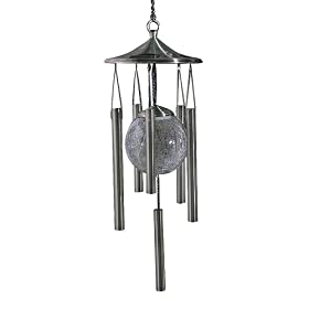 WindLights Solar Wind Chime- Pewter Finish