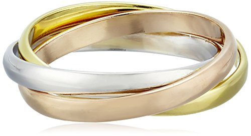 Sterling Silver Triple Interlocking Tri-Tone Stackable Ring, Size 6 (Interlocking Rings compare prices)