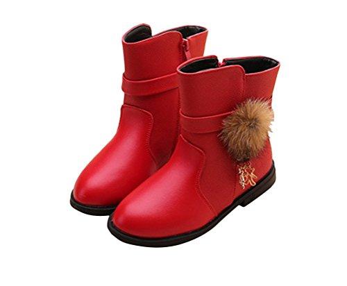 Générique filles bottes d'hiver chaussures en cuir à la mode bottines de neige chaud plate pour hiver