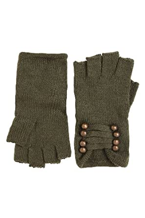 Olive Brass Fingerless Military Gloves