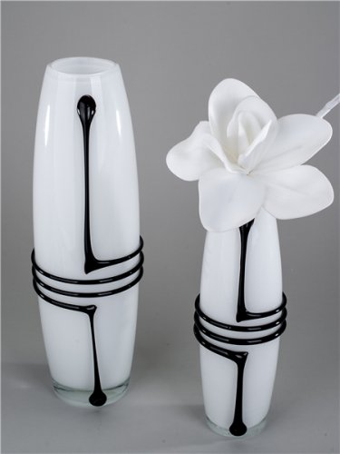 """Vase """"Drop"""" in weiß-schwarz von Formano, 40 cm"""