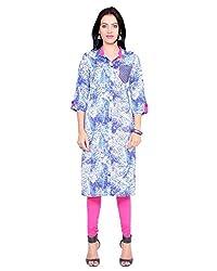 Divena Blue Print Shirt Style Kurta With Front Pocket