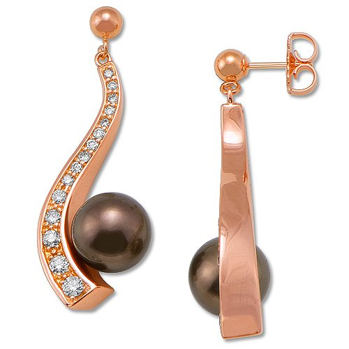 Chocolate Tahitian Pearls with Diamonds in 14K Rose Gold