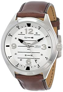 JBW Men's J6282C Aviation-Inspired Dial 8 Diamonds Leather Watch