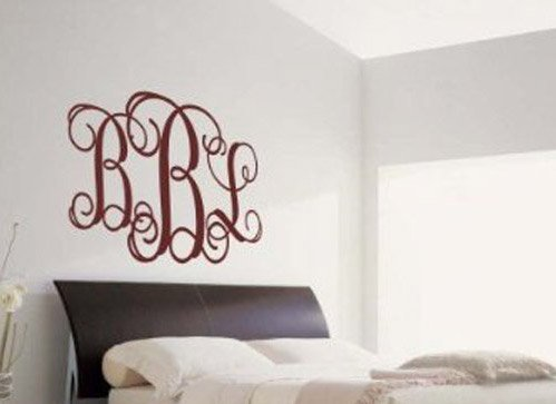 Custom Curly Monogram Fancy Vinyl Wall Sticker Decal Decor Personalized front-105580