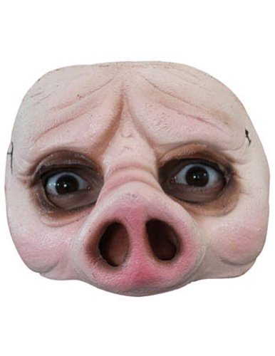 Scary-Masks Half Pig Mask Halloween Costume - Most Adults