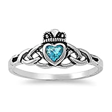 buy Sterling Silver Women'S Flawless Sky Blue Cubic Zirconia Friendship Claddagh Heart Ring (Sizes 3-10) (Ring Size 7)