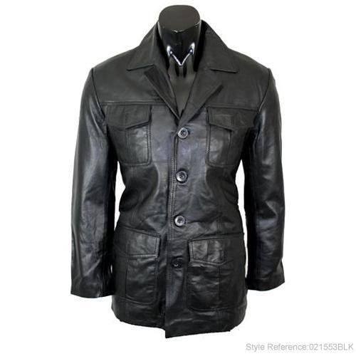 Mens Military Style Black Leather Overcoat L3B Size Large