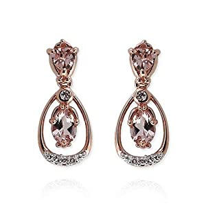 Click to buy 14K Rose Gold Peach Morganite and Diamond Teardrop Earrings from Amazon!