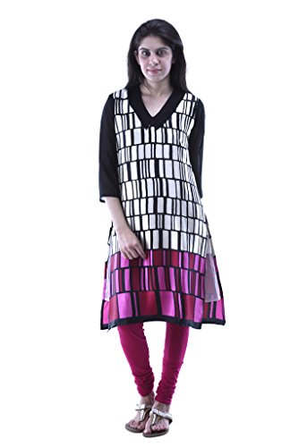 Aarr V-Neck SIlk 3/4th Sleeves Casual Printed Straight Kurta For Women
