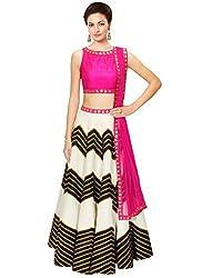 Rozdeal Designer White and Black Color leriya Style Navratri Collection Lehnega Choli