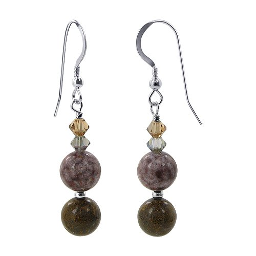 SCER706 Sterling Silver Multi Colored Jasper Beads and Crystal Earrings Made with Swarovski Elements