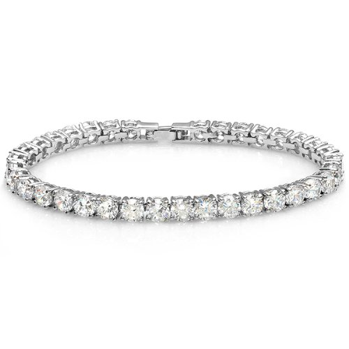 Platinum Plated 17.00 CT Clear Round CZ Cubic
