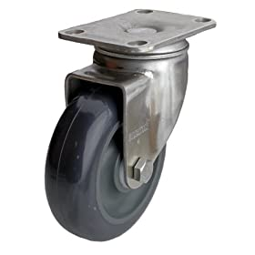 "Albion 04 Series 3"" Diameter Polyurethane on Polypropylene Wheel Light Duty Stainless Steel Plate Swivel Caster, Delrin Bearing, 3-5/8"" Length X 2-1/2"" Width Plate, 300lbs Capacity (Pack of 4)"