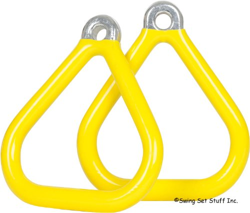 Commercial Coated Triangle Trapeze Rings (Pair) (Yellow) With Sss Logo Sticker