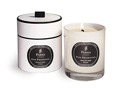 Rose With Violet And Lemon - Fine Fragrances Luxury Scented Wax Candle - Parks Candles - Gift Boxed
