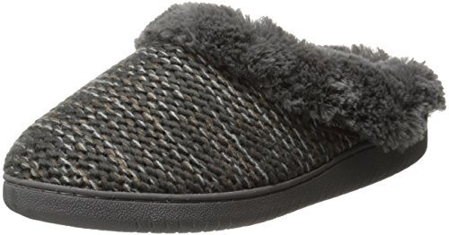 Muk Luks Women's Knit Clog Slipper with Faux Fur, Grey B-Side Marl, Medium/7-8