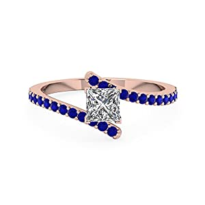 0.70 Carat Blue Sapphire & Princess Cut Diamond Colorful Engagement Ring Gold GIA (F Color, VVS2 Clarity)