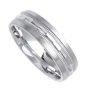 Milgrain Diamond-Cut Wedding Band in 18k White Gold (6.5 mm)