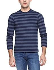 PepperClub Men's Cotton Round Neck Full Sleeve T-shirt -Stripe -Navy