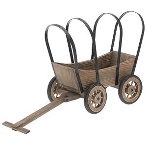 Kleiner Leiterwagen Bollerwagen aus Holz für den Garten Pflanzgefäß ...