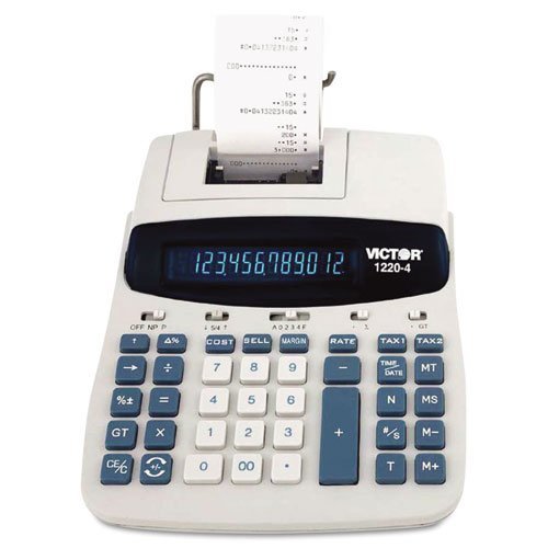 Victor Products - Victor - 1220-4 Desktop Calculator, 12-Digit Fluorescent, Two-Color Printing, Black/Red - Sold As 1 Each - Two independent tax keys to calculate two different tax rates, such as city/state, city/county. - Quickly solve cost-sell-margin by entering two variables to get the thrid value. - Display and print current time or date at the touch of a key. - Dual power for desktop or portable use. -