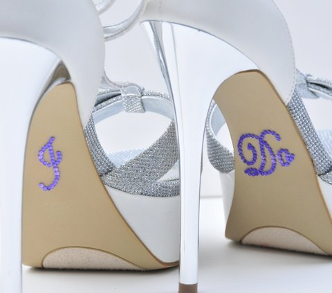 "Crystal Rhinestone ""I Do"" Wedding Shoe Stickers - Purple by Unik Occasions"