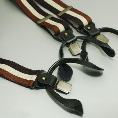 Classic Men's Brown Braces black striped Brace for work Y-Back genuine Leather SP1029