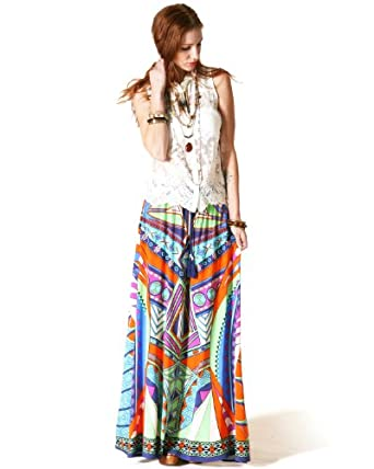 Flying Tomato Bohemian Maxi Skirt, Tangerine/Navy (L)