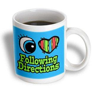 Dooni Designs Eye Heart I Love Designs - Bright Eye Heart I Love Following Directions - 11Oz Mug (Mug_106085_1)