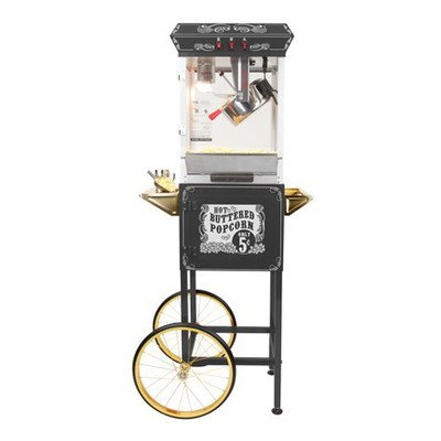 Funtime Sideshow Popper 8-Ounce Hot Oil Popcorn Machine With Cart, Black/Silver