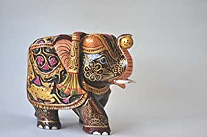Hand carved wooden painted elephant handicraft multicoloured unique indian Elephant home decor items