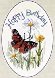 Derwentwater Designs Butterfly And Daisies Greetings Card Cross Stitch Kit