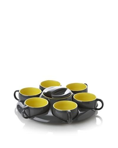 Classic Coffee & Tea by YEDI Botero 8-Piece Espresso Tray Set, Dark Grey/Yellow