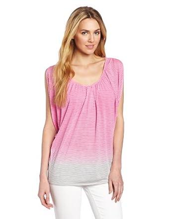 (疯抢)Calvin Klein Jeans女士宝蓝渐变条纹T恤Long Sleeve Drapy Knit $29.63