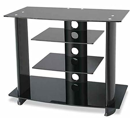 Tavolino Porta Televisore LED, LCD e Plasma, Guarnieri 391B Nero in Alluminio